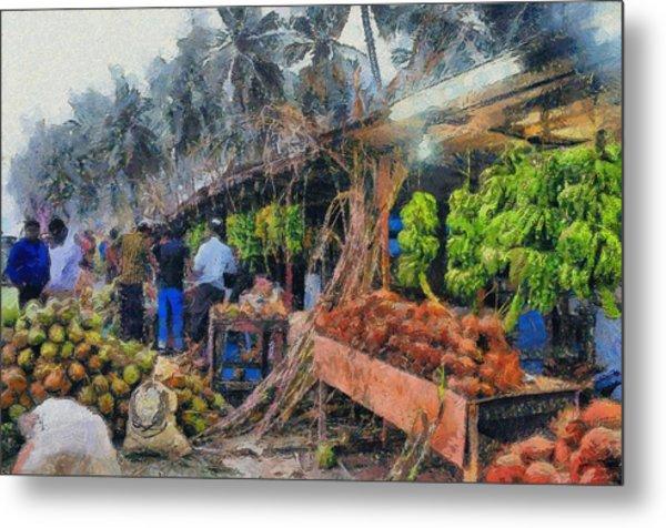 Vegetable Sellers Metal Print