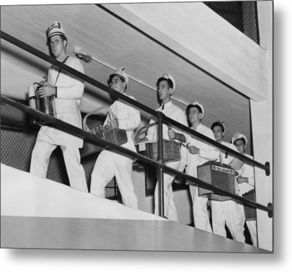 Vendors At Yankee Stadium For The World Metal Print by Everett