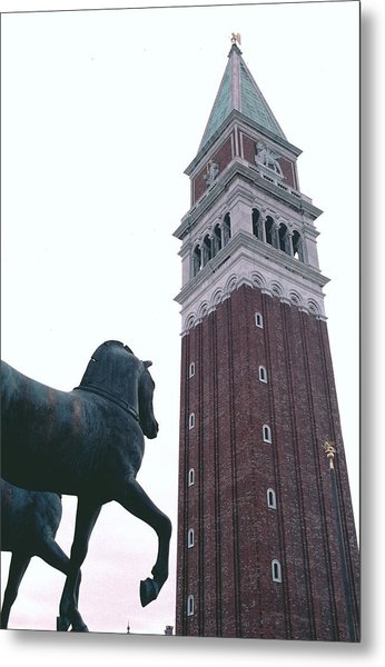 Venice Bell Tower St Marks Horses Metal Print by Tom Wurl