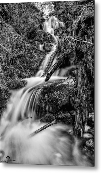 Vertical Falls Bw Metal Print by Mitch Johanson