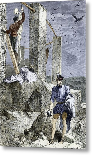 Vesalius Stealing A Skeleton, Artwork Metal Print by Sheila Terry