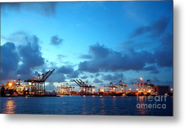 View Of Kaohsiung Harbor At Dusk Metal Print