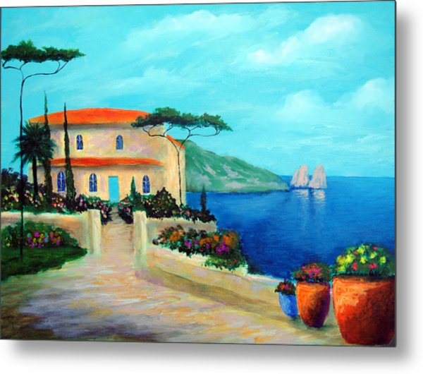 Villa Of Amalfi Metal Print