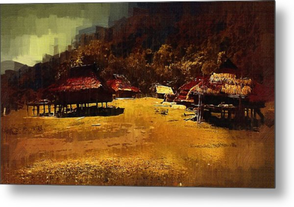 Village In Northern Burma Metal Print