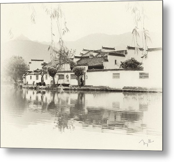 Village On Water Metal Print by Nian Chen