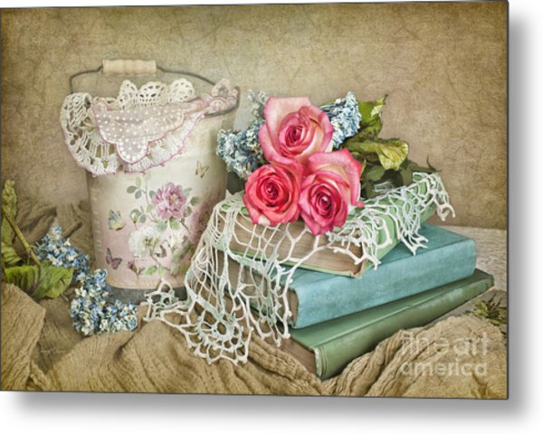 Vintage Books And Roses Metal Print