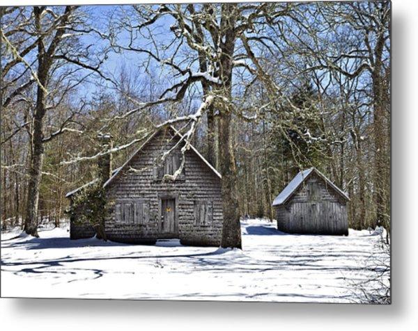 Vintage Buildings In The Winter Snow Metal Print