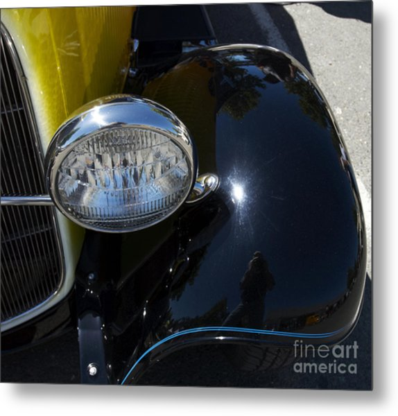 Vintage Car Reflection Metal Print