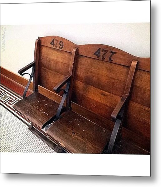 Vintage Courthouse Seats Metal Print