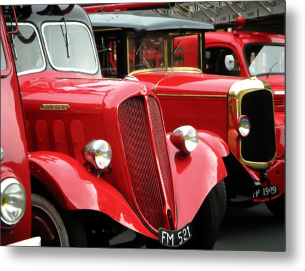 Vintage Fire Trucks Metal Print