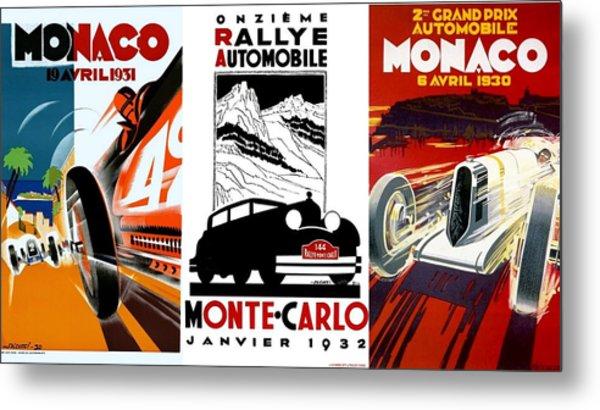 Vintage Monte Carlo Racing Posters Metal Print