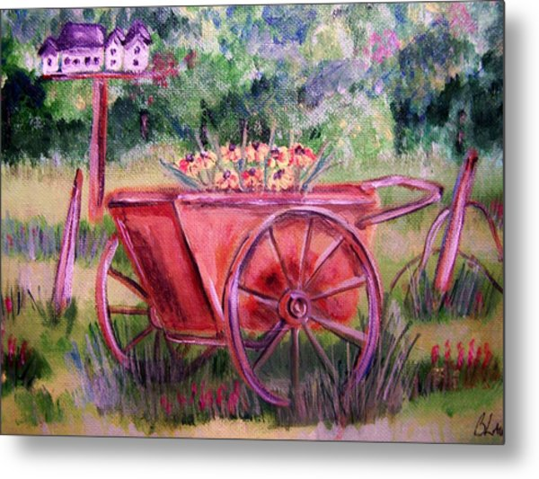 Vintage Wheel Barrow Metal Print