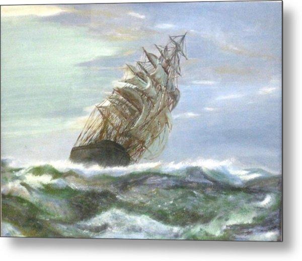 Violent Sea -oil Painting Metal Print by Rejeena Niaz