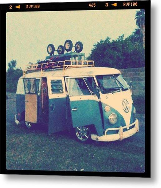 #vw #vintage #safari #lowered #bus Metal Print
