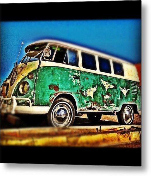 #vw #volkswagon #bus #patina #vintage Metal Print