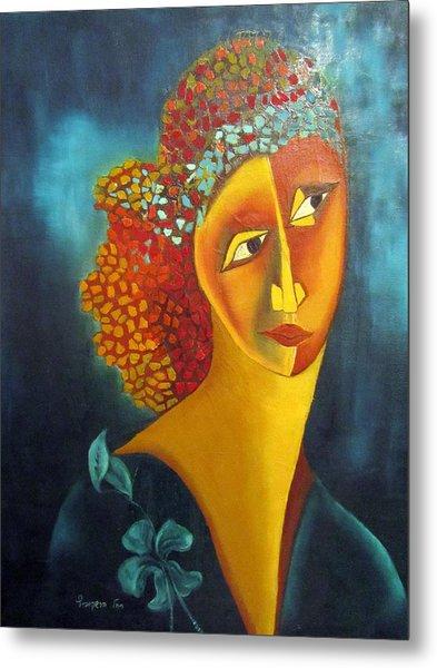 Waiting For Partner Orange Woman Blue Cubist Face Torso Tinted Hair Bold Eyes Neck Flower On Dress Metal Print