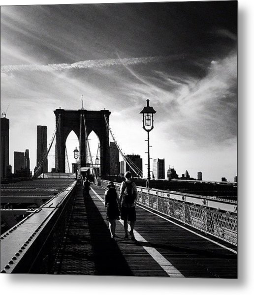Walking Over The Brooklyn Bridge - New York City Metal Print
