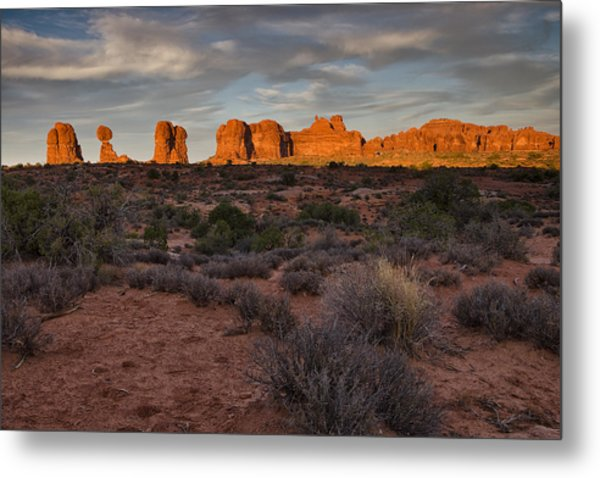 Warm Glow Over Arches Metal Print