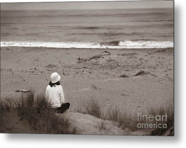 Watching The Ocean In Black And White Metal Print