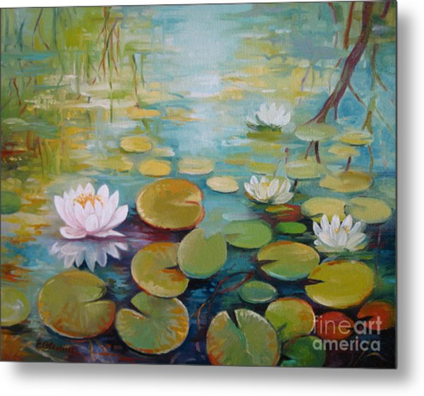 Water Lilies On The Pond Metal Print