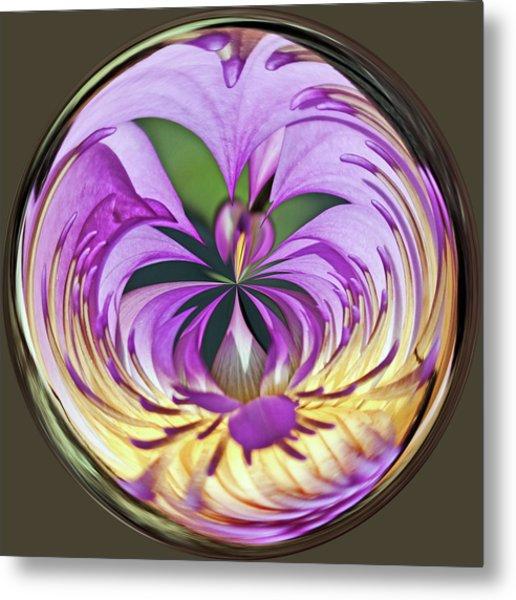 Water Lily Orb Metal Print