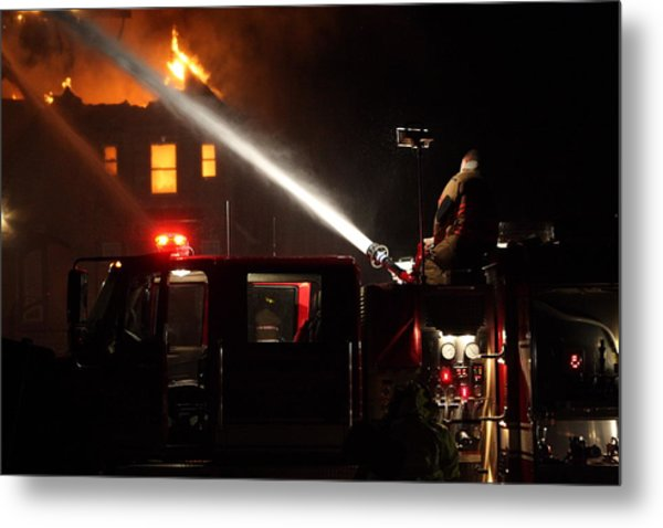 Water On The Fire From Pumper Truck Metal Print