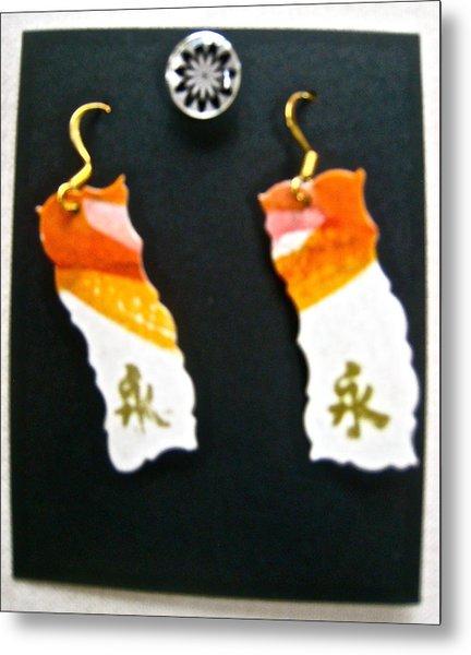 Watercolor Earrings Eternity Orange White Gold Metal Print