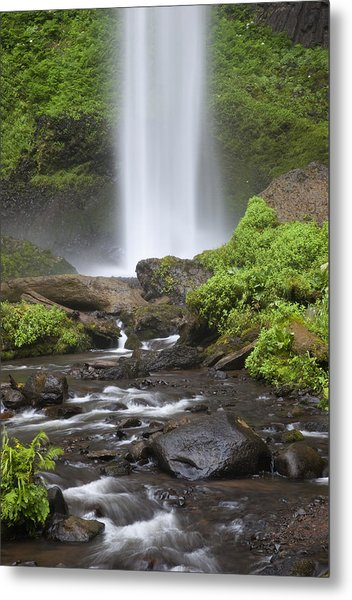 Waterfall In Gorge - Columbia River Gorge Metal Print by John Gregg