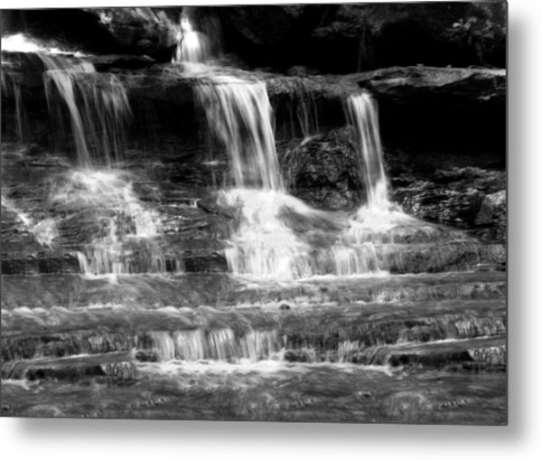 Waterfall Trio At Mcconnells Mill State Park In Black And White Metal Print