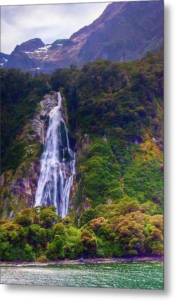 Waterfalls At Milford Sound Metal Print