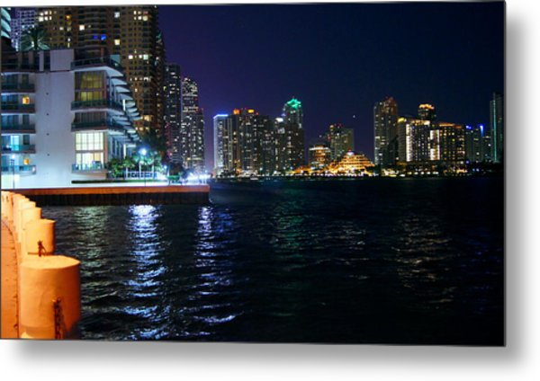Waterfront By Night Metal Print by Dieter  Lesche