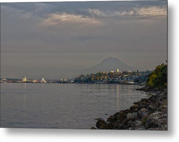 Waterfront Look At Mount Rainier Metal Print by Barry Jones