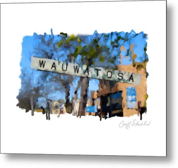 Wauwatosa Railroad Sign Metal Print by Geoff Strehlow