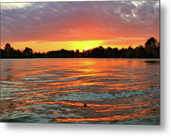 Waves And The Sun Metal Print by Mike Stouffer