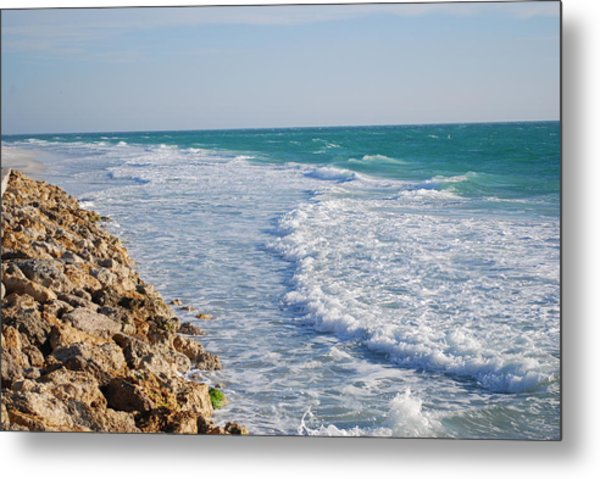 Waves At The Beach Metal Print by Carrie Munoz