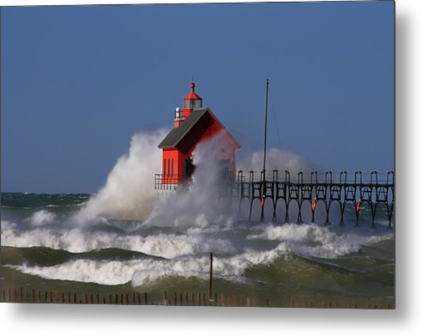 Waves Over The Grand Haven Outer Light Metal Print