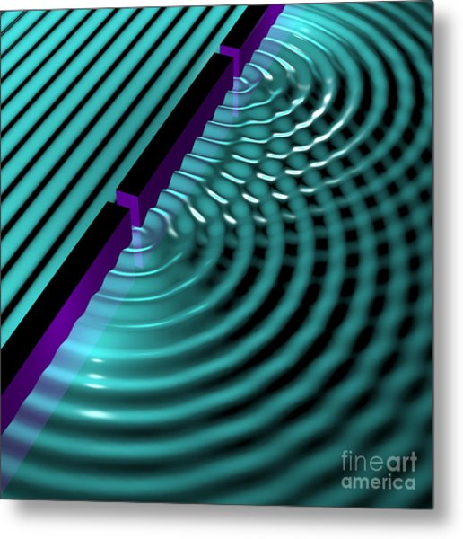 Waves Two Slit 3 Metal Print