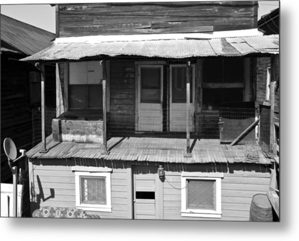 Weathered Home With Satellite Dish Metal Print
