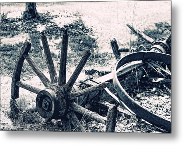Weathered Wagon Wheel Broken Down Metal Print