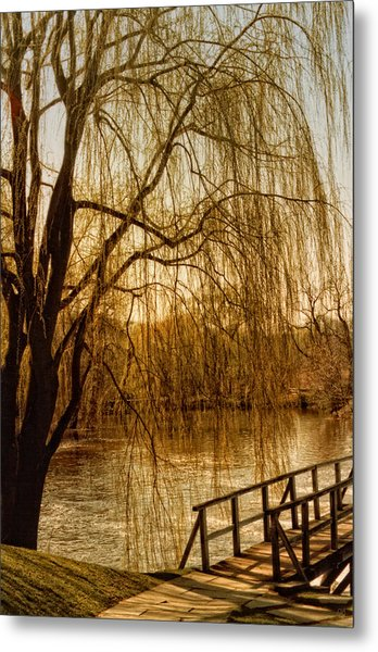 Weeping Willow And Bridge Metal Print