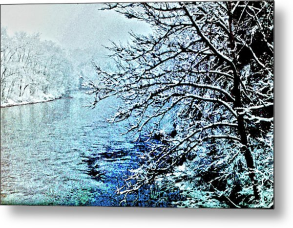 West River Snow Metal Print