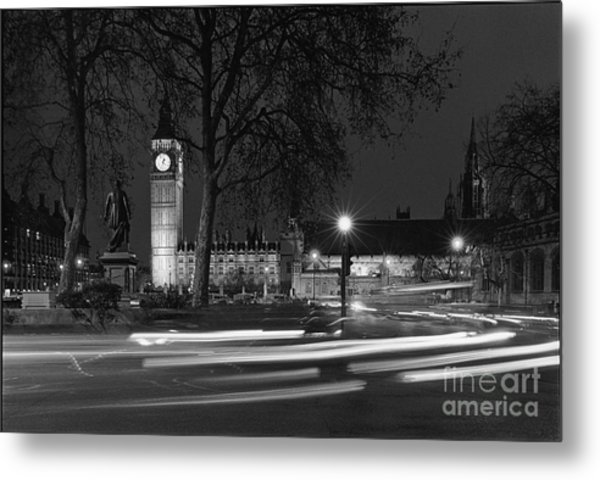 Westminster Night Traffic  Metal Print by Aldo Cervato