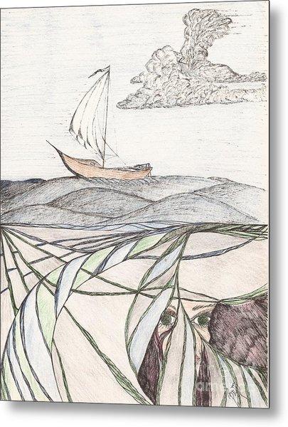 Where The Deep Currents Run... - Sketch Metal Print by Robert Meszaros