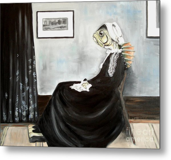 Whistler's Mother As A Fish Metal Print by Ellen Marcus