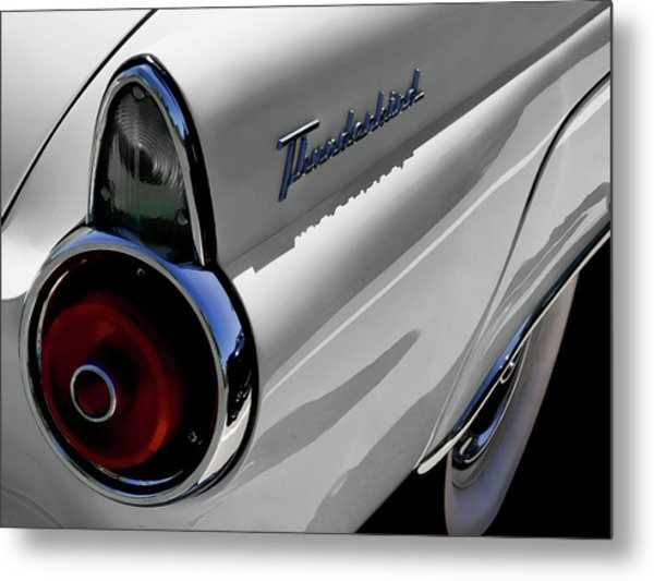 White 1955 T-bird Metal Print