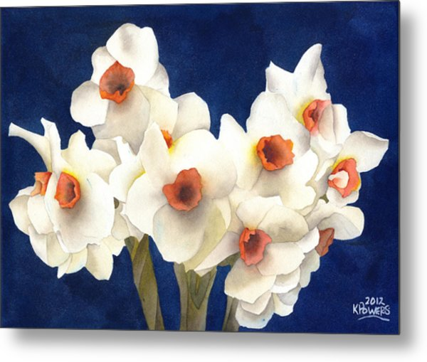 Metal Print featuring the painting White Bouquet by Ken Powers