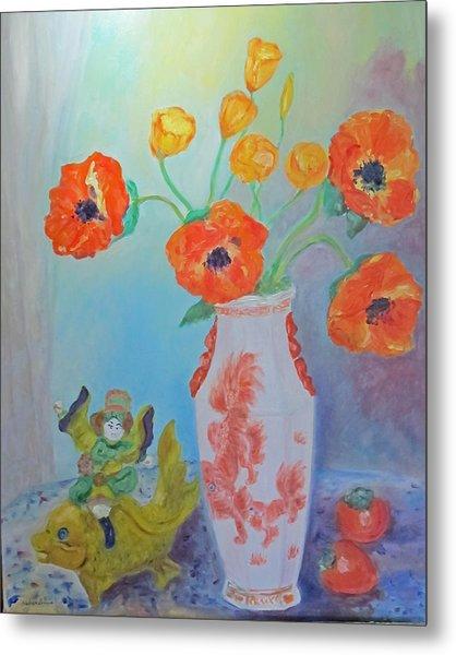 White China Vase With Poppies Metal Print