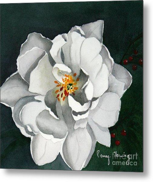White Double Tulip Metal Print