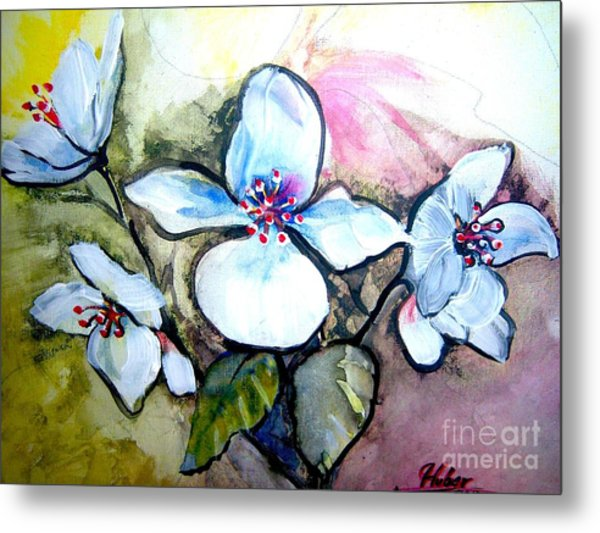 White Floral Group Metal Print by Ken Huber