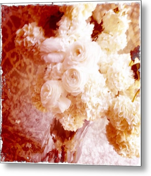 White Hydrangeas With Ranunculus Metal Print by Ruby Hummersmith